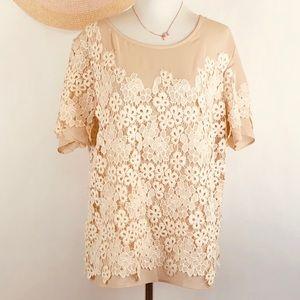 Sundance magazine floral lace overlay blouse